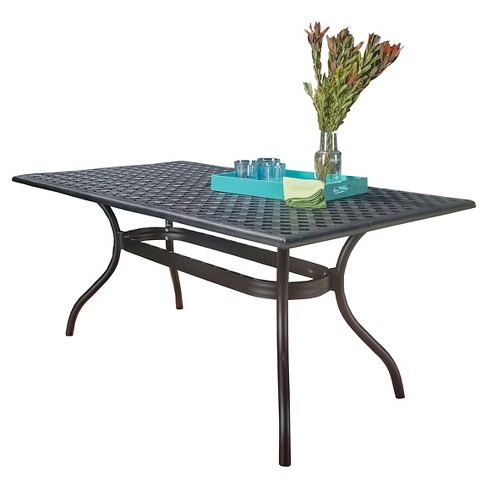 Cayman Rectangle Cast Aluminum Table - Black Sand - Christopher Knight Home - image 1 of 4