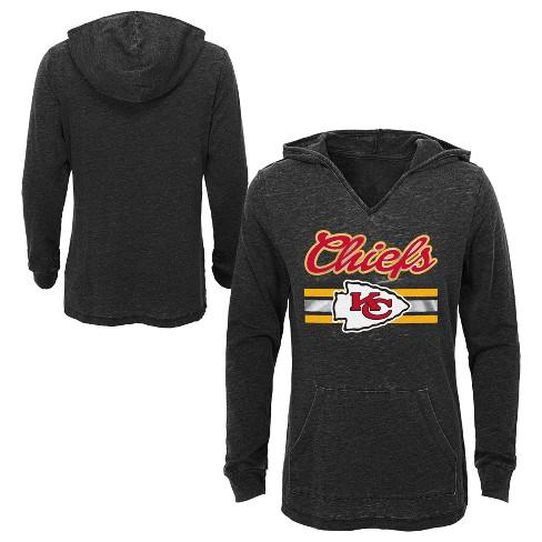 86db329945 Kansas City Chiefs Girls  Game Time Gray Burnout Hoodie M   Target