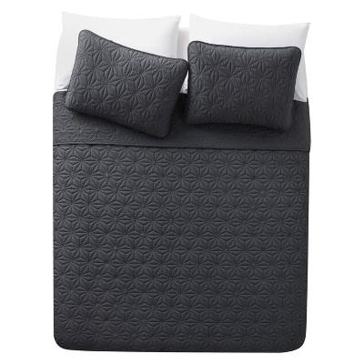 Iron Gray Kaleidoscope Embossed Quilt Set (Full/Queen)3pc - VCNY