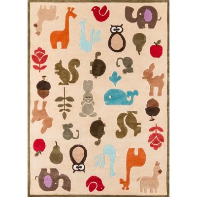 "Ivory Playful Animals Rug - 48""x72"""