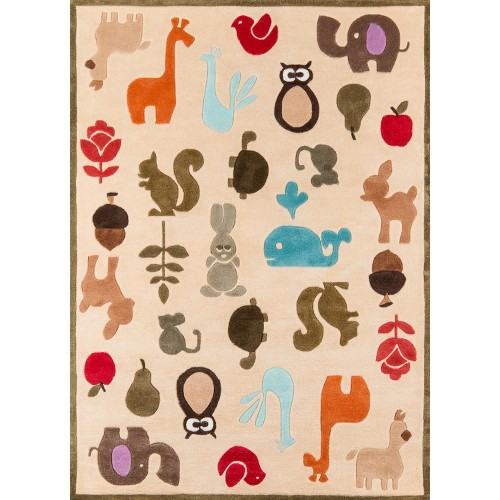 'Ivory Playful Animals Rug - 60''x84'', Size: 5'x7'6'''