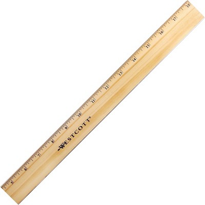 """Acme Wood Ruler Scaled 1/16ths Brass Edge 18""""L Natural 05018"""
