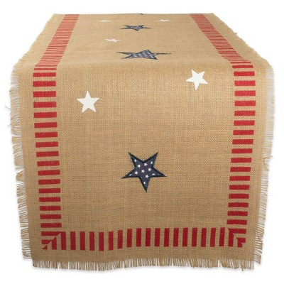 74 x14  4th Of July Jute Table Runner Tan/Red - Design Imports