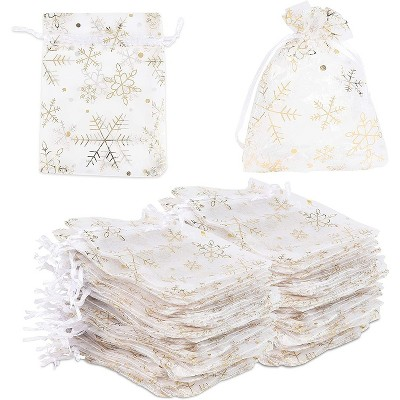 Sparkle and Bash 120-Pack Organza Small Gift Bags for Christmas Wedding, Gold Snowflakes (3.5 x 4.75 in)