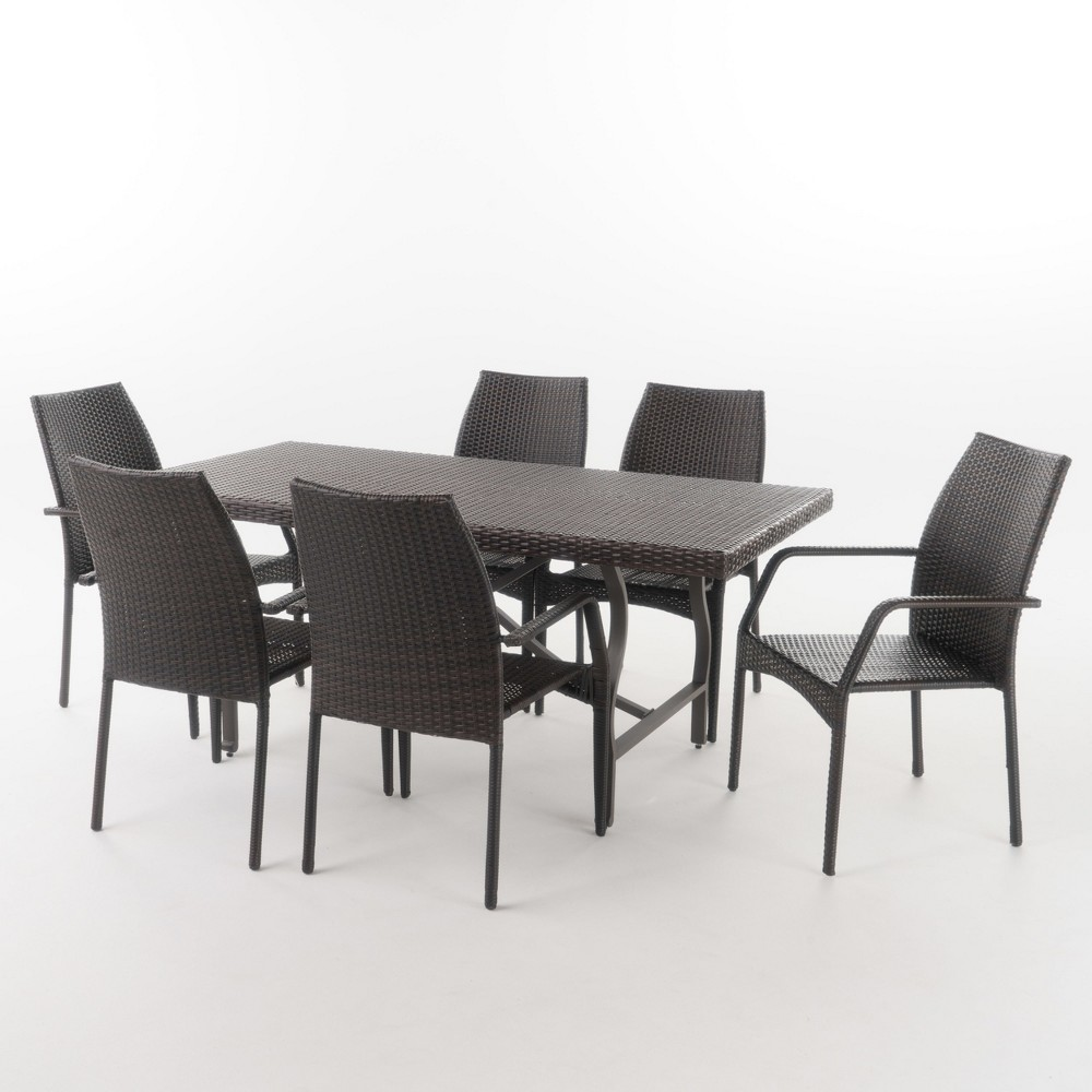 Alexandria 7pc Wicker Dining Set - Multibrown - Christopher Knight Home, Brown