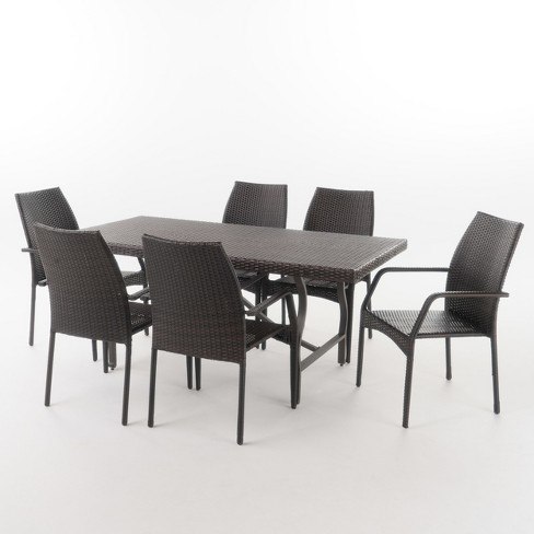 Alexandria 7pc Wicker Dining Set - Multibrown - Christopher Knight Home - image 1 of 4