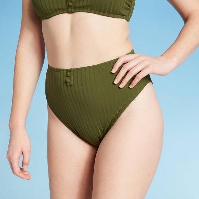 Women's Button-Front Cheeky High Waist Bikini Bottom - Xhilaration™ Olive