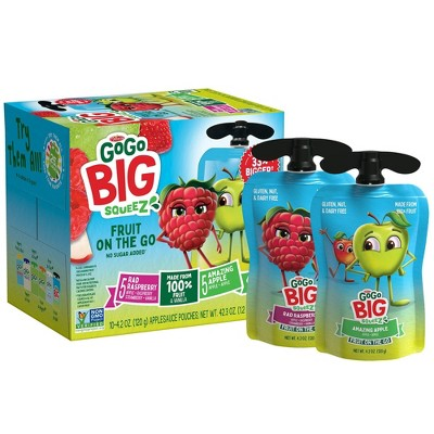 GoGo SqueeZ Big Variety Pack Apple Apple Rasp Straw Van - 42.3oz/10ct