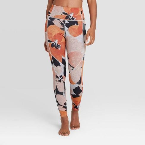 Women's Floral Print High-Waisted Brushed Jersey 7/8 Leggings - JoyLab™ Orange  - image 1 of 2