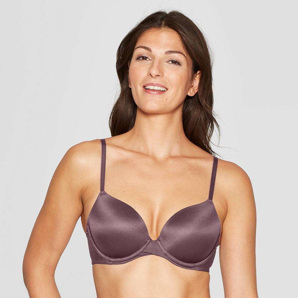 Womens Full Coverage Icon Lightly Lined T-Shirt Bra - Auden Burgundy Mist 34DD Red Blue Discounts