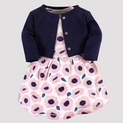 Touched by Nature Baby Girls' Blossoms Organic Cotton Dress & Cardigan - Pink/Navy 0-3M