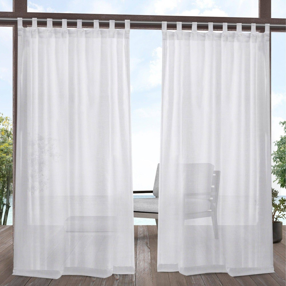 Set of 2 108x54 Miami Indoor/Outdoor Tab Top Window Curtain Panel White - Exclusive Home Buy