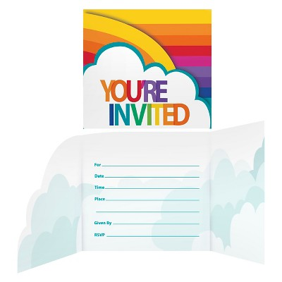 8ct Rainbow Invitations