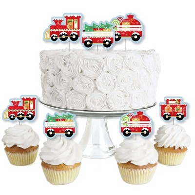 Big Dot of Happiness Christmas Train - Dessert Cupcake Toppers - Holiday Party Clear Treat Picks - Set of 24