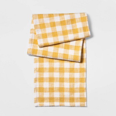 "14""x72"" Checkeded Table Runner Yellow - Threshold™"
