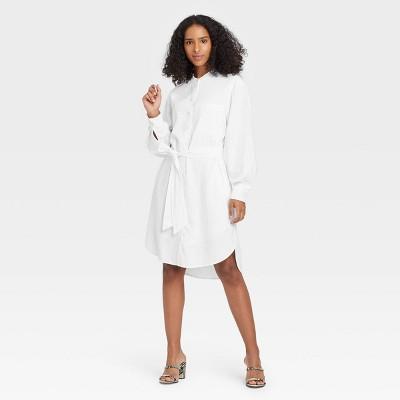 Women's Long Sleeve Tie Waist Shirtdress - A New Day™