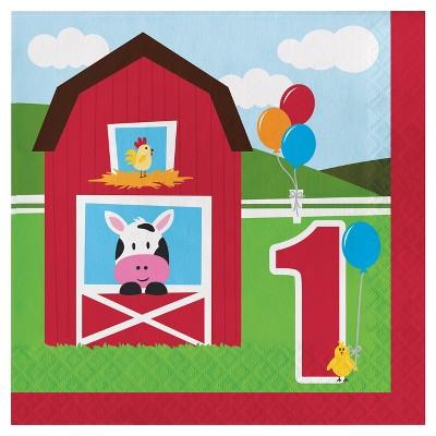 18ct Farm Fun 1st Birthday Napkins