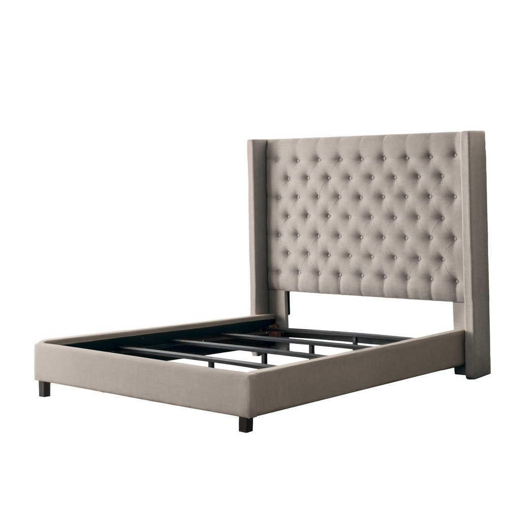 Fairfield Fabric Tufted Bed with Wings Queen Beige - CorLiving