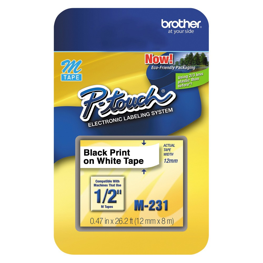 Brother P - Touch M Series Tape Cartridge for P - Touch Labelers - 1/2w - Black/White