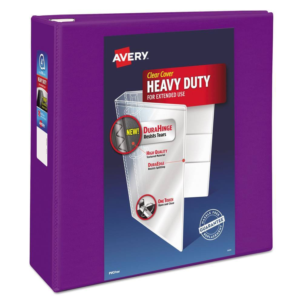 "Image of ""4"""" Heavy-Duty View Ring Binder with Locking EZD Rings Purple - Avery"""