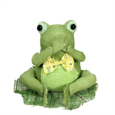 """Northlight 7.5"""" Green, Yellow and White Decorative Sitting Frog Spring Table Top Decoration"""