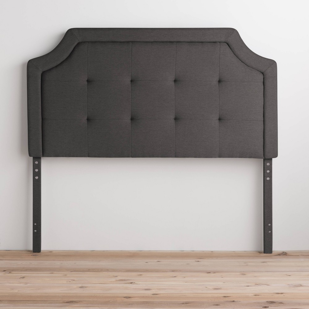 Twin Twin Xl Upholstered Scoop Edge Headboard With Square Tufting Charcoal Brookside Home