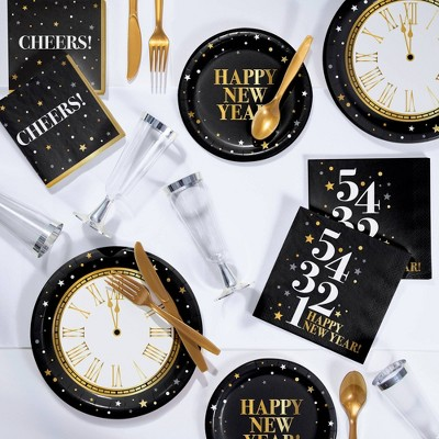 'New Year' Deluxe Party Supplies Kit Gold