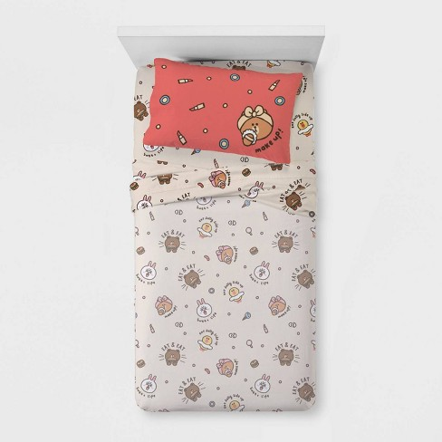 Twin Line Friends Day of Brown Sheet Set - image 1 of 3