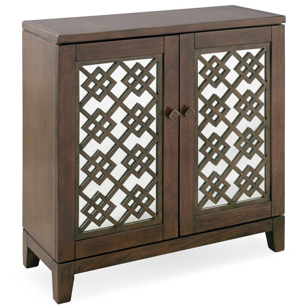 Mirrored Diamond Filigree Hallstand/Entryway Table Walnut (Brown) - Leick Home