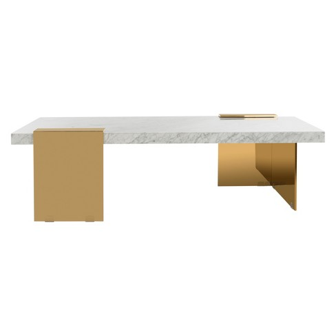Mycha Marble Coffee Table White Gold Safavieh