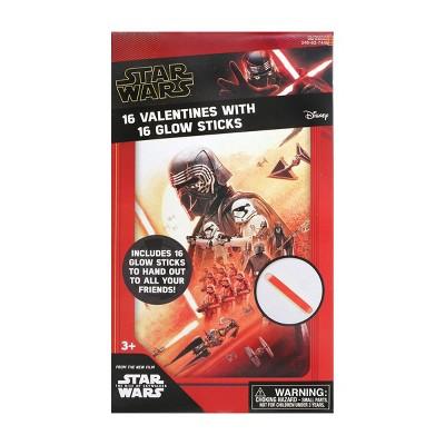 Star Wars Episode 9 16ct Valentines With Glow Sticks