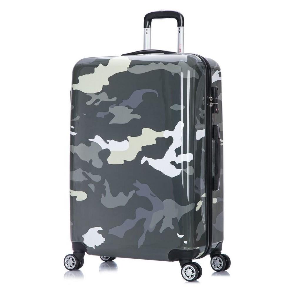 InUSA Prints 28 Hardside Spinner Suitcase - Green Camouflage, Dark Grey