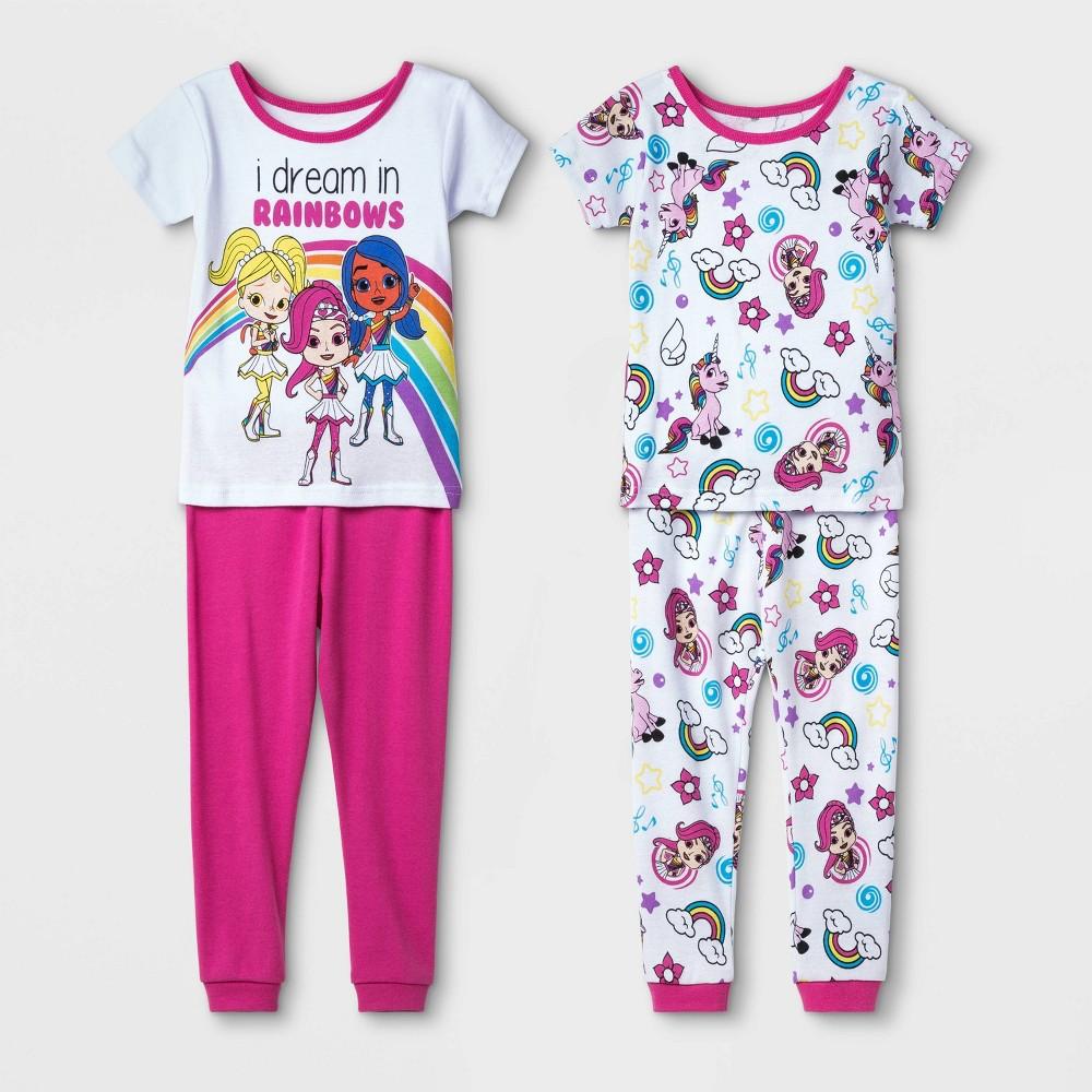 Image of Toddler Girls' 4pc Rainbow Rangers 100% Cotton Pajama Set - White/Pink 2T, Girl's, Pink/White