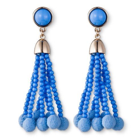 SUGARFIX by BaubleBar Beaded Tassel Earrings with Pom Poms - Periwinkle - image 1 of 2