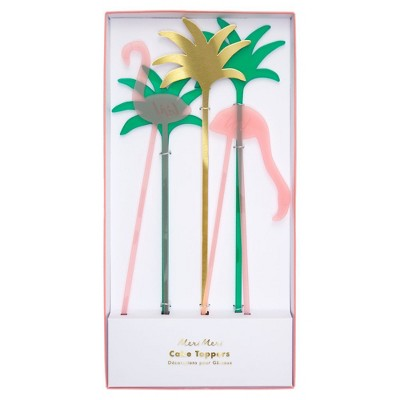 Meri Meri - Flamingo Acrylic Cake Toppers - Cake Toppers - 5ct