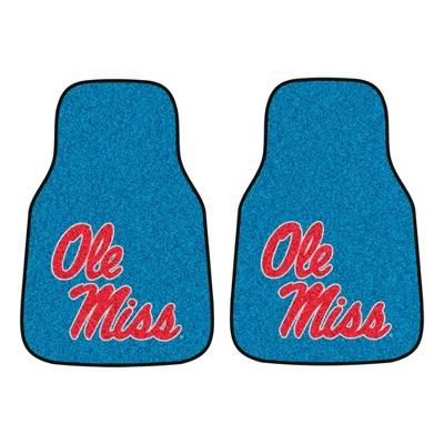 NCAA University of Ole Miss Rebels Carpet Car Mat Set 2pc - Blue
