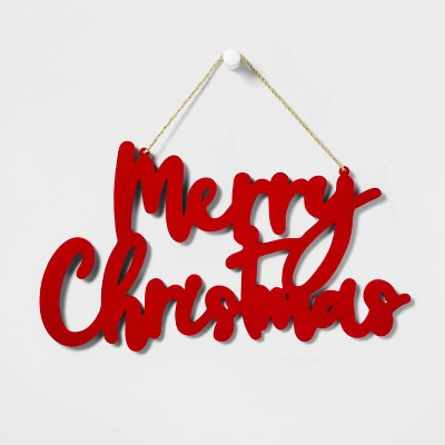 Merry Christmas Velour Covered Wooden Hanging Sign Red - Wondershop™