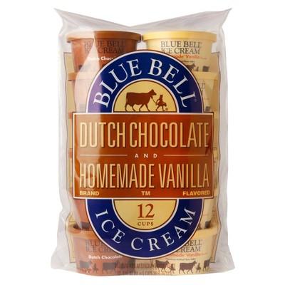 Blue Bell Dutch Chocolate & Homemade Vanilla Ice Cream Cups - 36oz/12ct