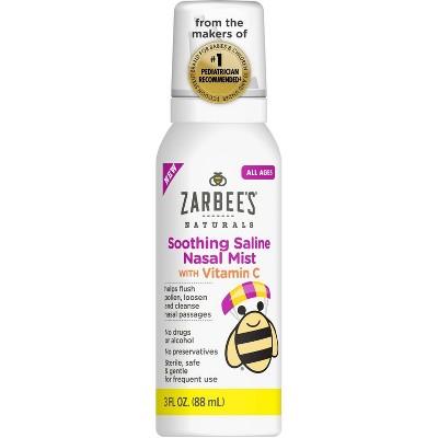 Zarbee's Naturals Soothing Saline Nasal Mist with Vitamin C – 3 fl oz