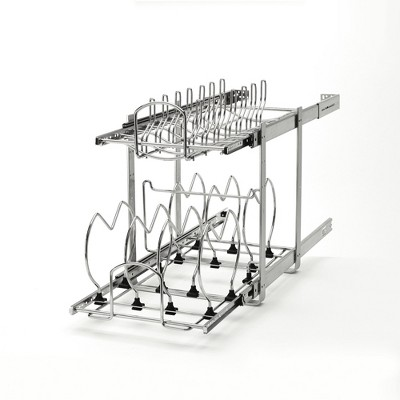 Rev-A-Shelf 5CW2-1222-CR 12-Inch 2-Tier Pots and Pans Cookware Cabinet Organizer