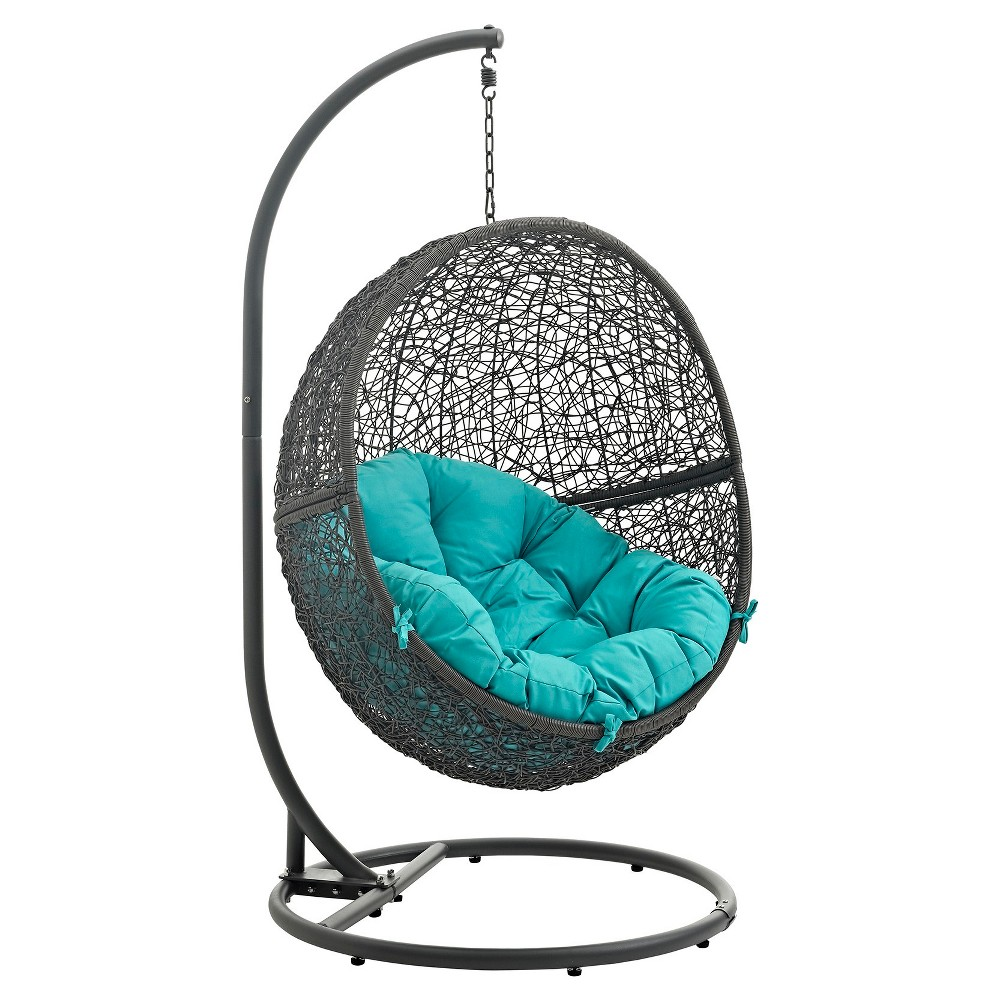 Hide Outdoor Patio Swing Chair in Gray Turquoise - Modway