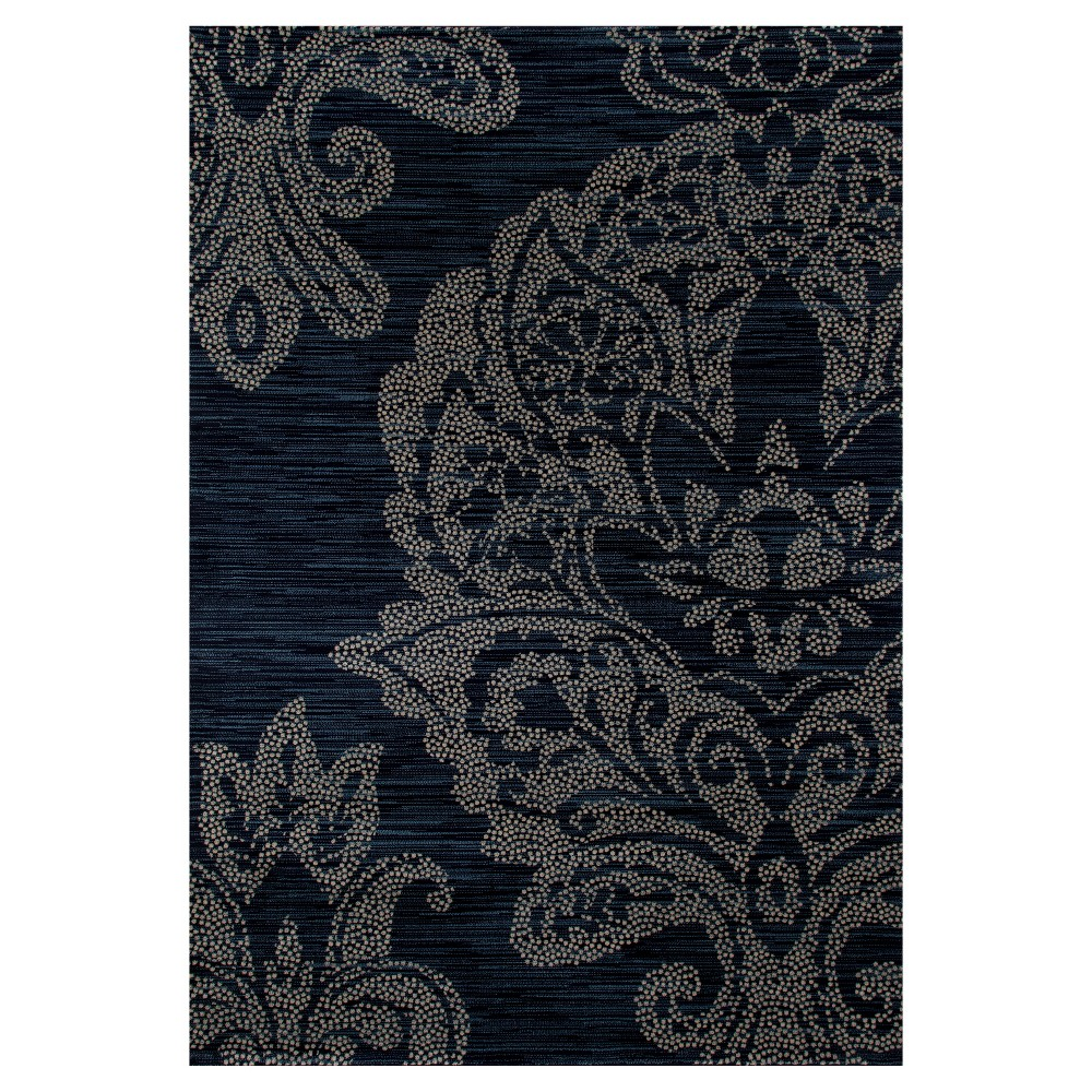 Image of Blue Classic Woven Round Area Rug - (5'X8') - Art Carpet