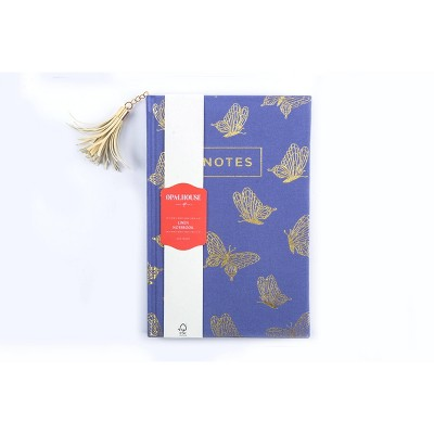 Notebook College Ruled Linen with Tassel Blue Butterfly - Opalhouse™