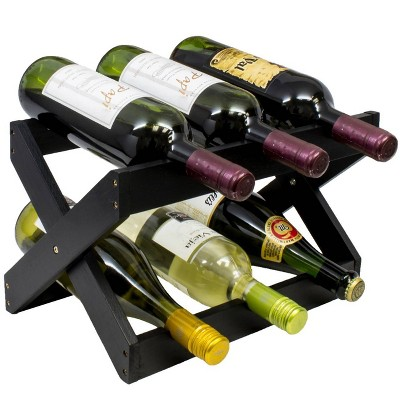 Sorbus Bamboo Foldable Countertop 6 Bottles Wine Rack Black