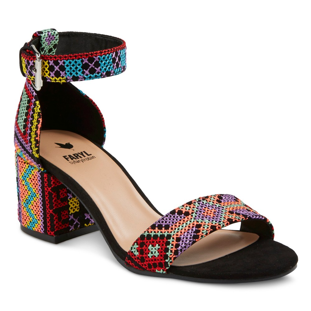 Women's Faryl by Farylrobin Dune Neon Mix Block Heel Ankle Strap Sandals - 11, Black