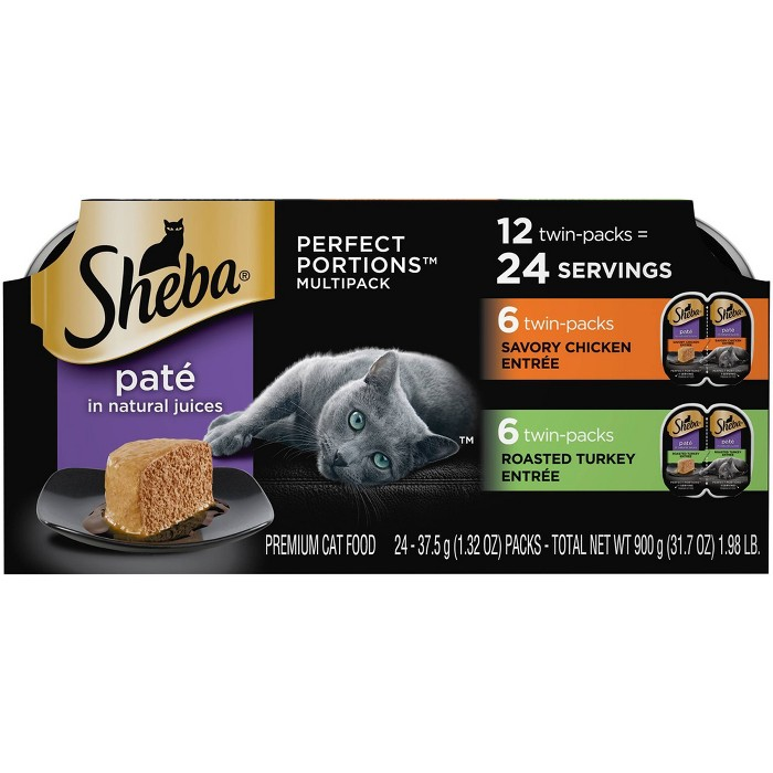 Sheba Perfect Portions Pat In Natural Juices Premium Wet Cat Food Chicken & Turkey Entre - 2.6oz/12ct Variety Pack : Target