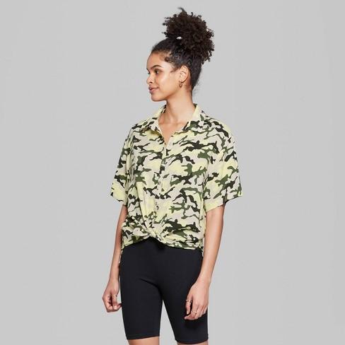 d913add734e Women's Camo Print Short Sleeve Oversized Button-Down Shirt - Wild Fable™  Lime Green