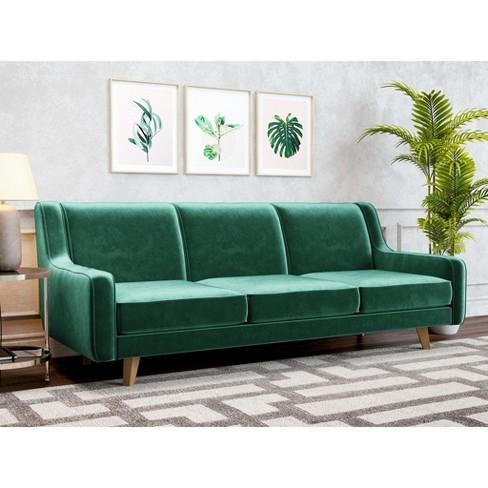 Hazel Modern Velvet Sofa Emerald Green