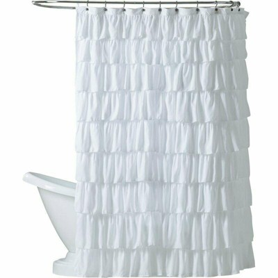 Kate Aurora Shabby Chic Style White Crushed Ruffle Fabric Shower Curtain - Standard Size