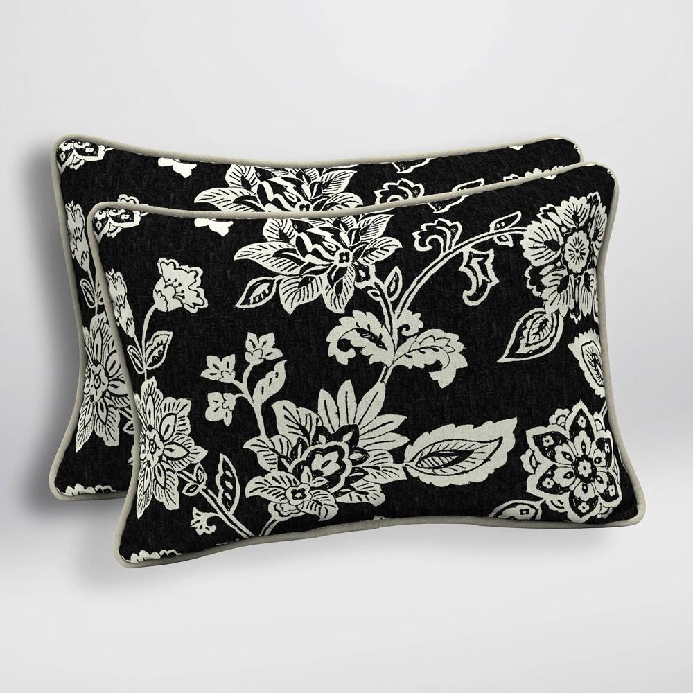 Image of 2pk Ashland Jacobean Oversized Outdoor Lumbar Pillows Black/White - Arden Selections